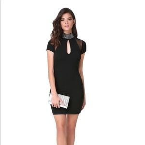 Black cocktail dress with silver embellishment